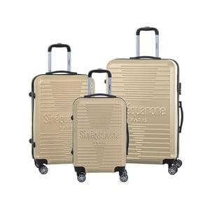 Sada 3 cestovných kufrov v béžovej farbe na kolieskách so zámkom SINEQUANONE