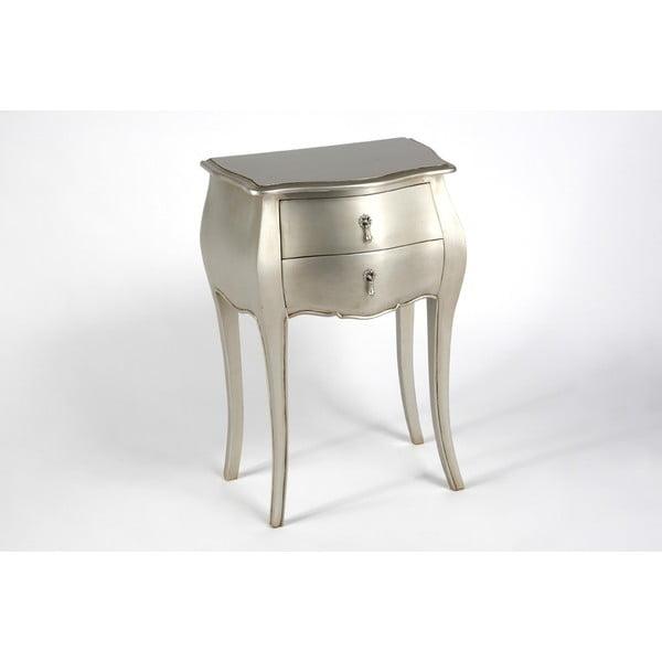 Odkladací stolík s dvomi zásuvkami Muran Silver