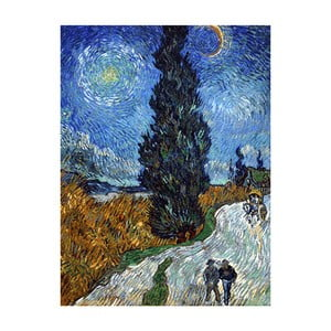 Obraz Vincenta van Gogha - Country road in Provence by night, 70x50 cm