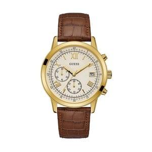 Pánske hodinky s remienkom z ušľachtilej kože v hnedej farbe Guess W1000G3