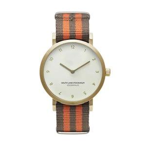 Unisex hodinky s hnedo-oranžovým remienkom South Lane Stockholm Sodermalm Gold Stripes