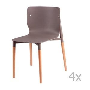 Sada 4 svetlosivých jedálenských stoličiek sdrevenými nohami sømcasa Alisia