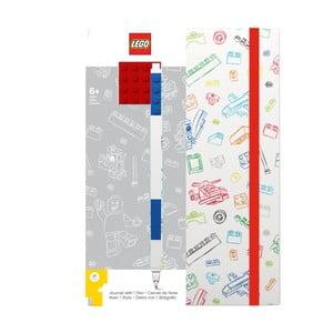 Červeno-biely zápisník A5 s modrým perom LEGO®