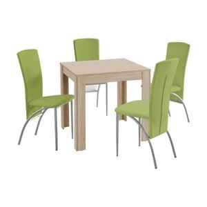 Set jedálenského stola a 4 zelených jedálenských stoličiek Støraa Lori Nevada Duro Oak Green