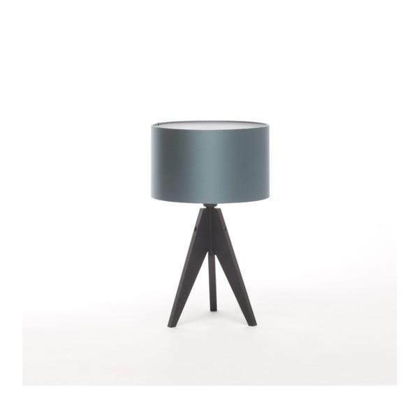 Modrá stolová lampa 4room Artist, čierna lakovaná breza, Ø 25 cm
