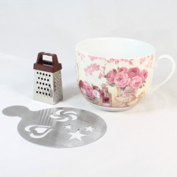 Keramický hrnček s kovovým posypávačom a strúhadlom Dakls Pinky, 420 ml