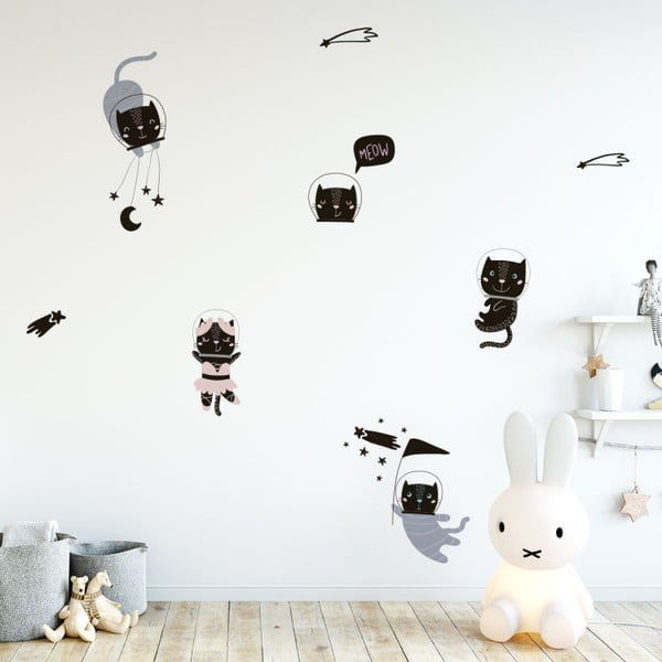Sada nástenných detských samolepiek Ambiance Scandinavian Animals Cosmonaut Cats