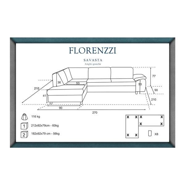 Hnedá pohovka Florenzzi Savasta s leňoškou na ľavej strane