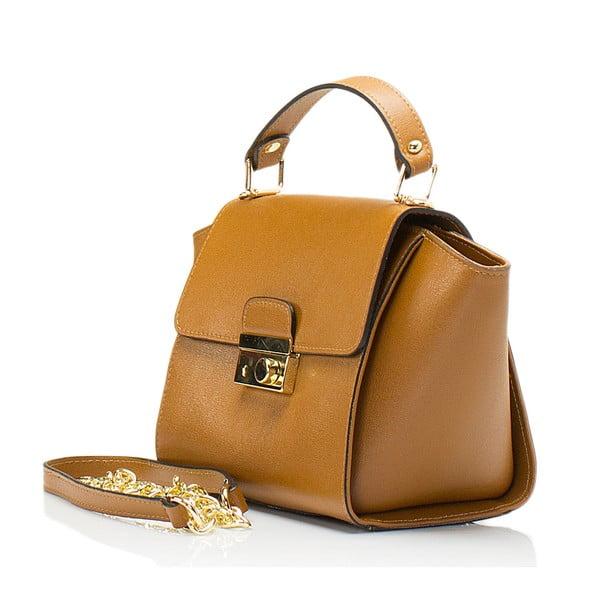 Svetlohnedá kožená kabelka Lisa Minardi Saffiano