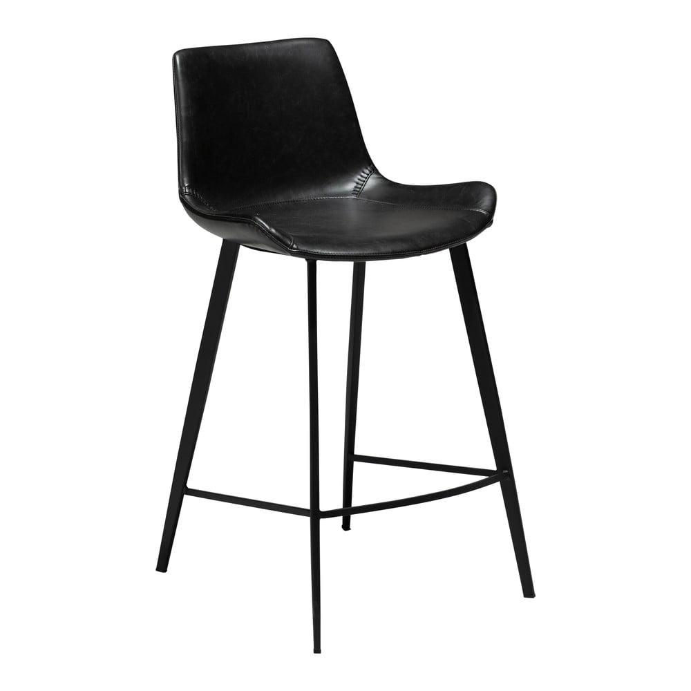 Čierna barová stolička z eko kože DAN–FORM Denmark Hype, výška 91 cm