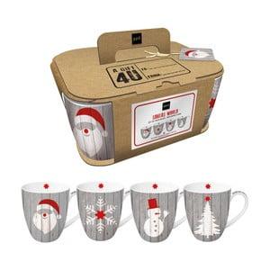 Sada 4 porcelánových hrnčekov s vianočným motívom v darčekovom balení PPD Xmas Mugs, 350 ml