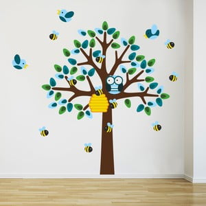 Samolepka na stenu Strom a včielky, 2 archy, 70x50 cm