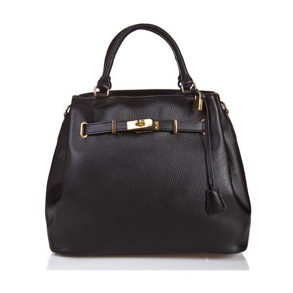 Čierna kožená kabelka Massimo Castelli Efrem