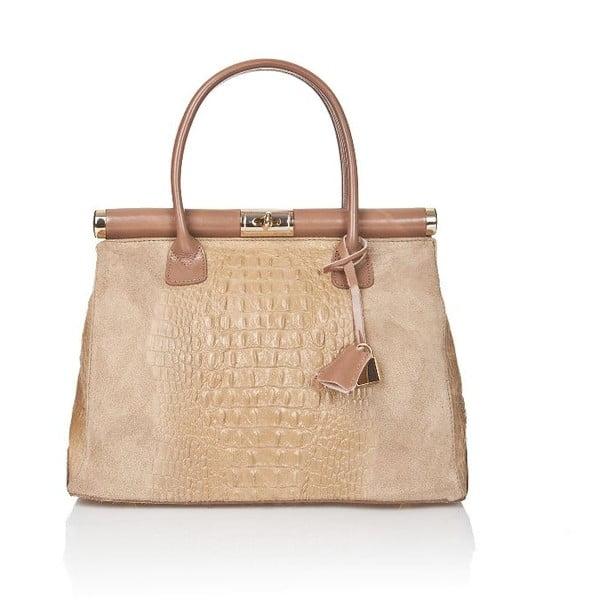 Béžová kožená kabelka Markese Crocco Suede