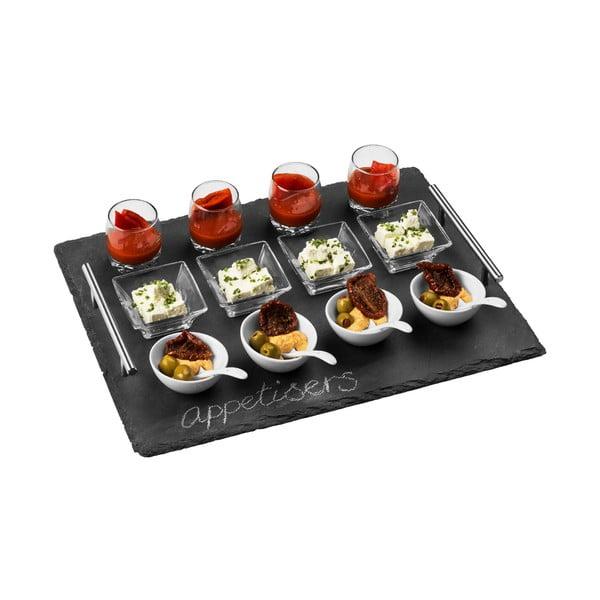 Sada 8 misiek, 4 pohárov a 4 lyžičiek na bridlicovom podnose Premier Housewares Appetiser