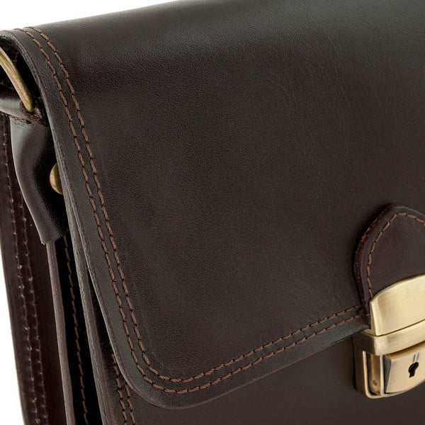 Tmavohnedá kožená kabelka Ore Diece Agrigento