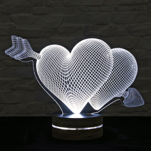 3D stolová lampa Two Hearts