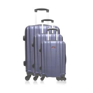 Sada 3 modrých cestovných kufrov na kolieskach Hero Poppy