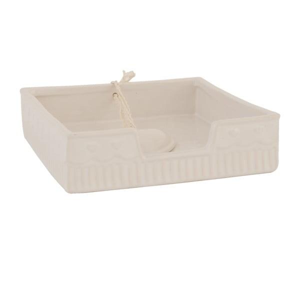Béžový box na obrúsky  Clayre & Eef, 16x4 cm