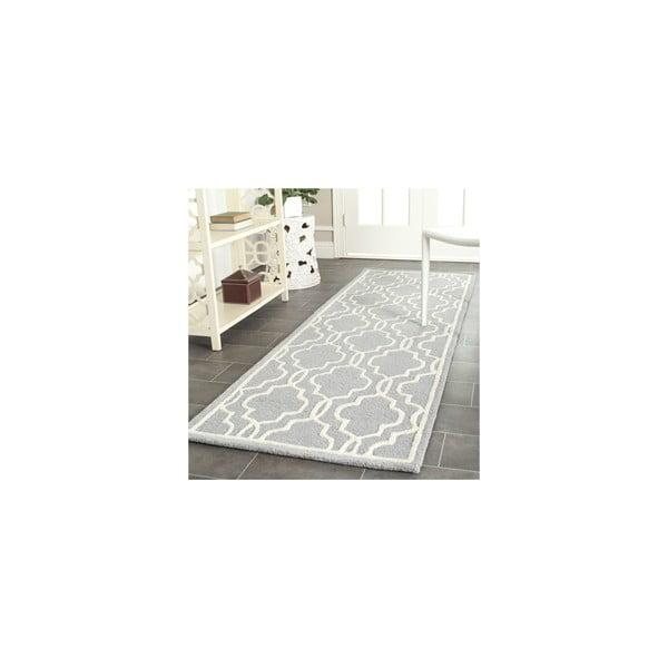 Vlnený koberec Elle 91x152 cm, sivý