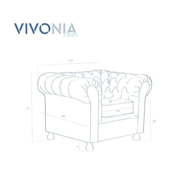 Olivovozelené kreslo Vivonita Chesterfield