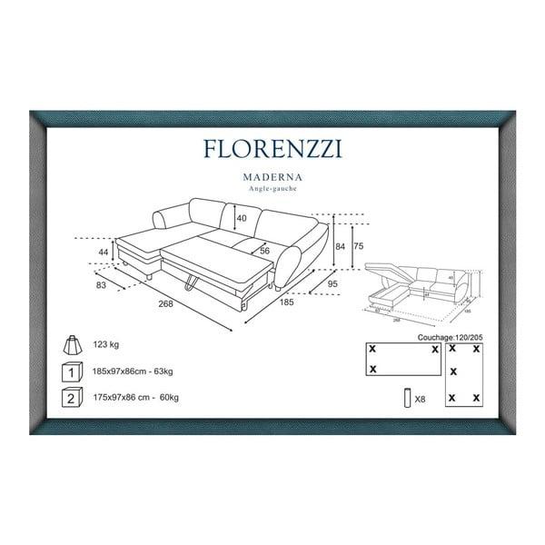 Sivo-tyrkysová rozkladacia pohovka Florenzzi Maderna s leňoškou na ľavej strane
