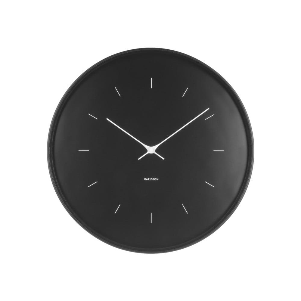 Čierne nástenné hodiny Karlsson Butterfly, ⌀ 37,5 cm