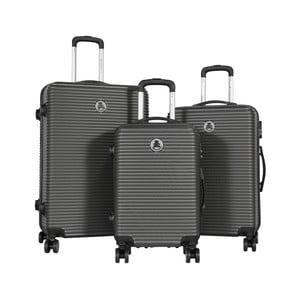 Sada 3 tmavosivých cestovných kufrov LULU CASTAGNETTE Lucy
