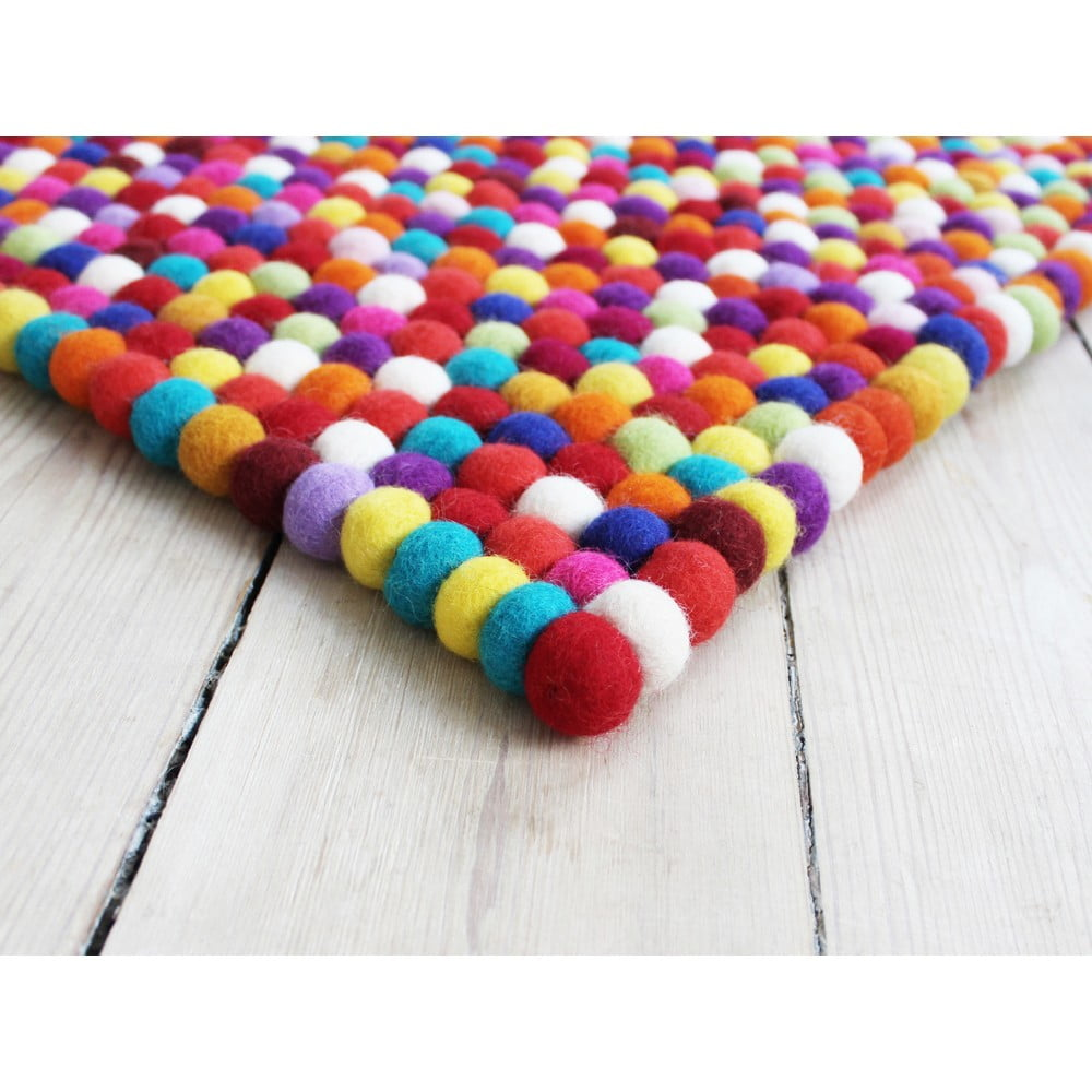 Tmavočervený guľôčkový vlnený koberec Wooldot Ball rugs, 100 x 150 cm
