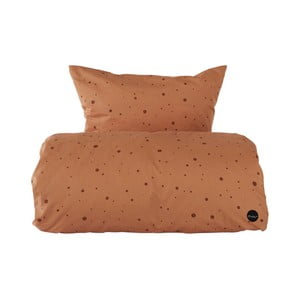 Set karamelovohnedej obliečky na paplón a vankúš z organickej bavlny OYOY Dot, 200 × 140 cm