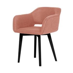 Broskyňovooranžová jedálenská stolička s čiernymi nohami My Pop Design Oldenburg