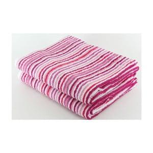 Set 2 osušiek Pink Stripes, 70x140 cm