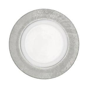 Sklenený tanier, strieborný, stredný