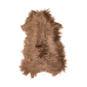 Hnedá ovčia kožušina s dlhým vlasom Fujo, 110 x 55 cm