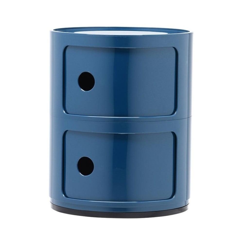 Modrý kontajner s 2 zásuvkami Kartell Componibili