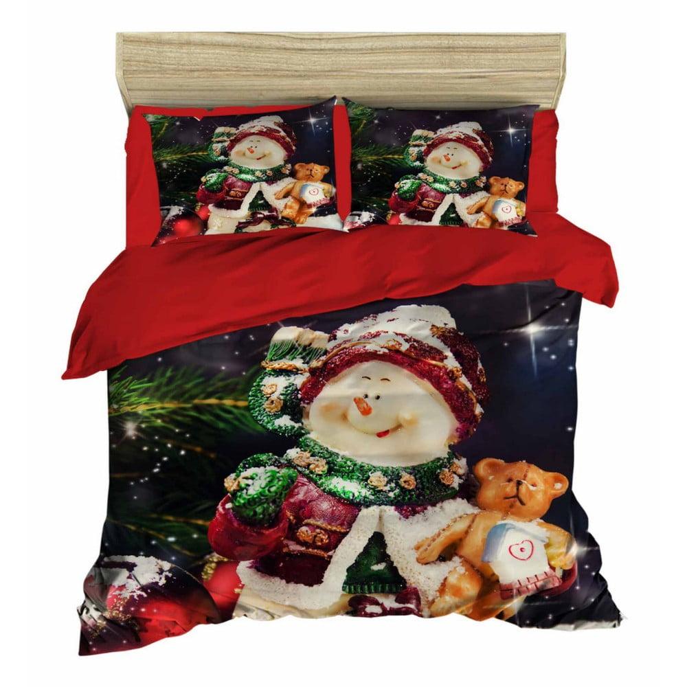 Vianočné obliečky na dvojlôžko s plachtou Simon, 160×220 cm