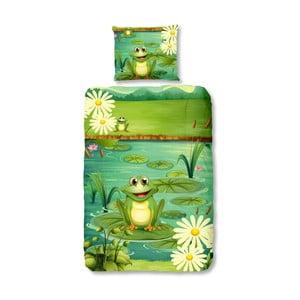 Detské posteľné obliečky na jednolôžko z čistej bavlny Good Morning Frogs, 140 × 200 cm