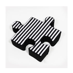 Čierny vankúšik Puzzle Stripe