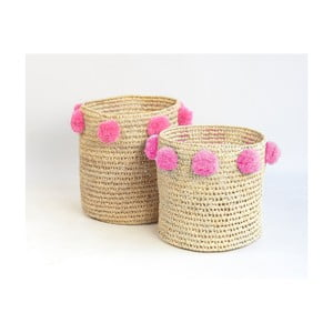 Sada 2 úložných košíkov s ružovými dekoráciami Madre Selva Milo Basket