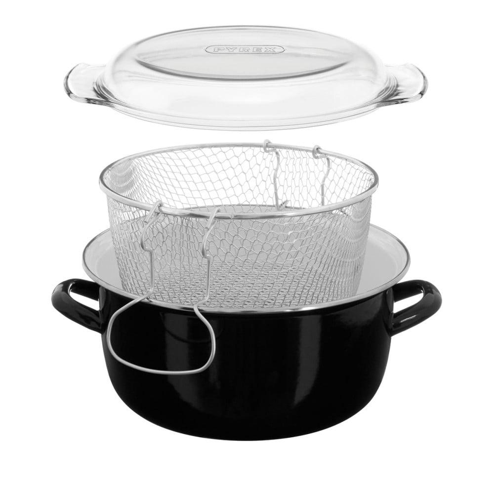 Čierny fritovací hrniec Premier Housewares, objem 5 l