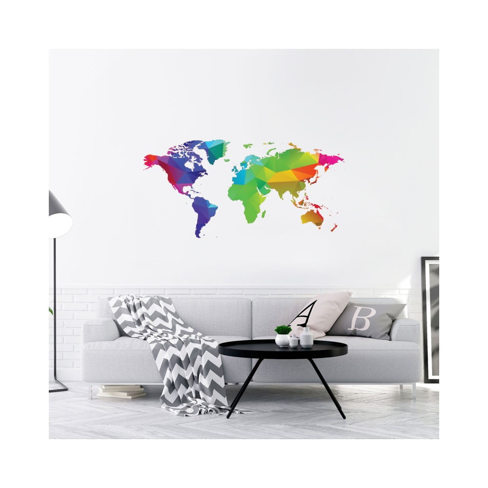 Nástenná samolepka Ambiance Wall Decal Origami Rainbow World Map, 40 × 80 cm