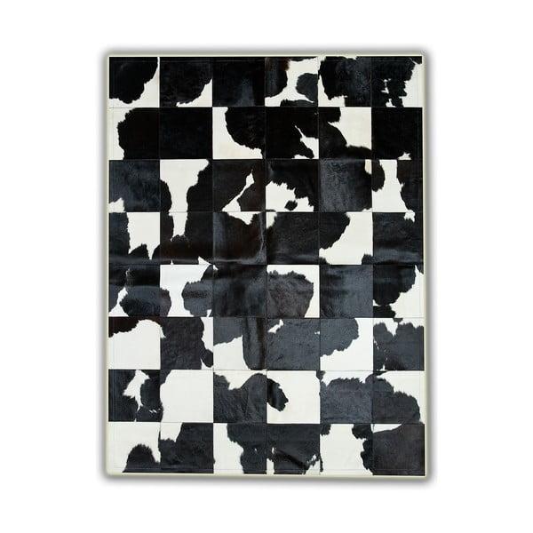 Koberec z pravej kože Black&White, 150x210 cm
