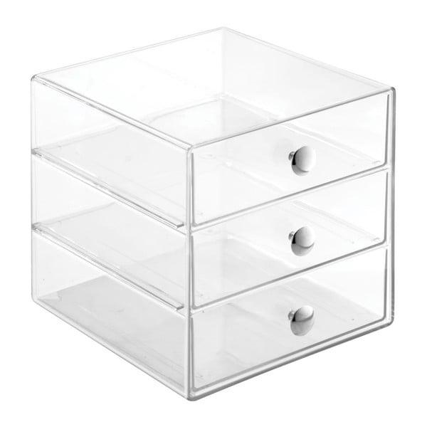 Transparentný úložný box s 3 zásuvkami InterDesign Drawers, výška 16,5 cm