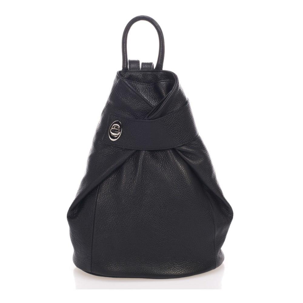 Čierny kožený batoh Lisa Minardi Narni