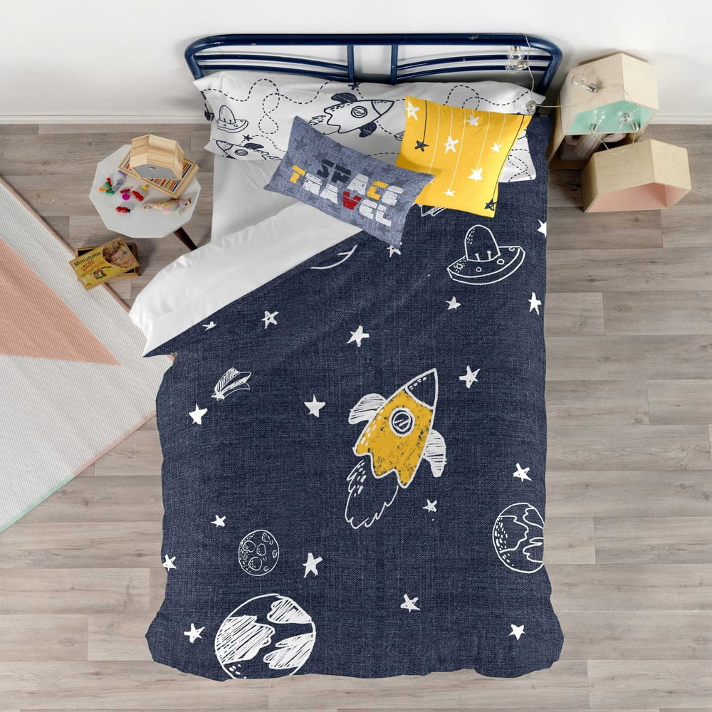 Set obliečky na prikrývku a vankúš s potlačou Baleno Starspace, 140 × 200 cm