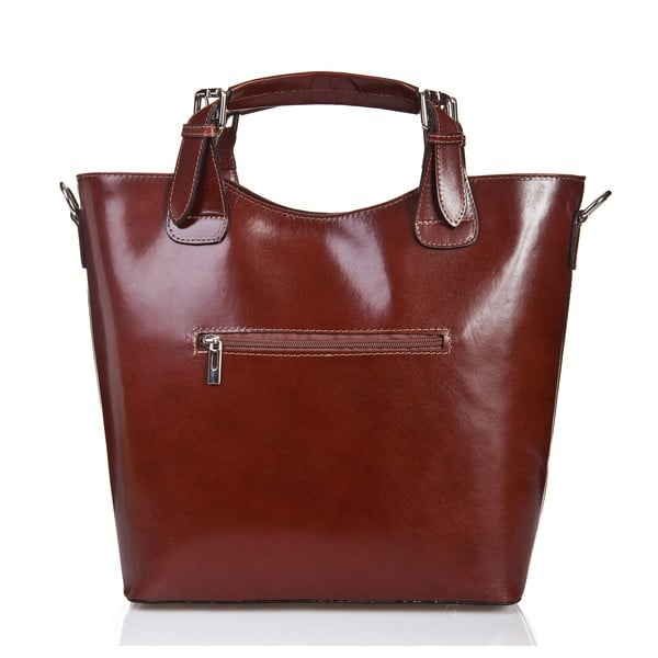 Hnedá kožená kabelka Massimo Castelli Calf