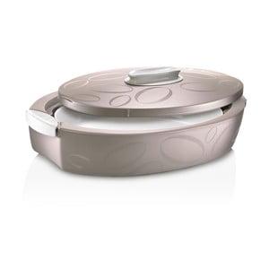Hnedý oválný termo box so zapekacou misou Enjoy, 4 l