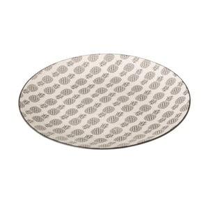 Sivo-biely porcelánový tanier Unimasa Pinna