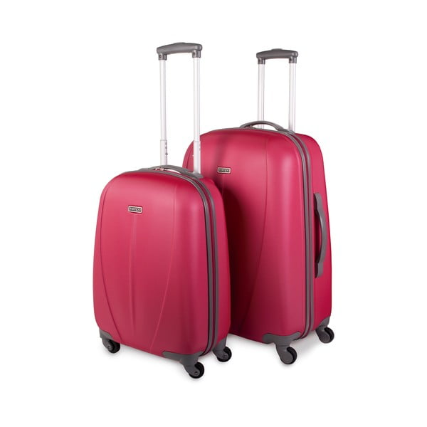 Sada 2 kufrov Tempo, jahodovo červená