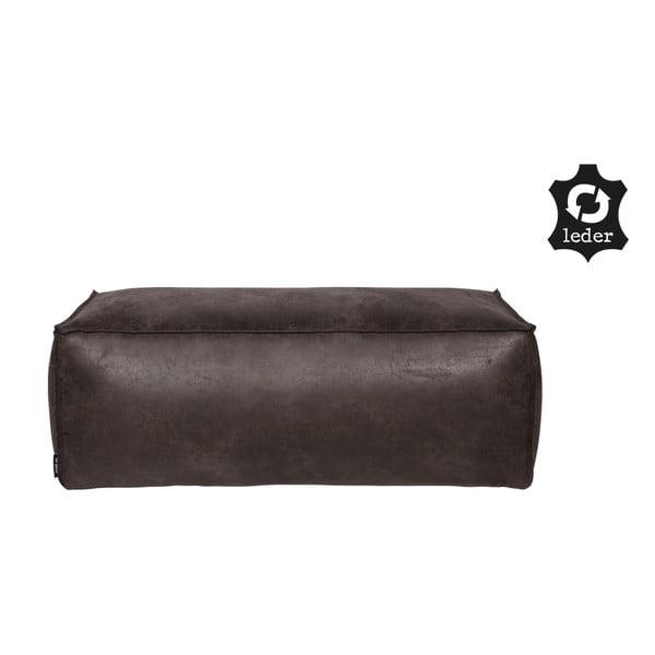 Čierny puf s poťahom z recyklovanej kože BePureHome Rodeo